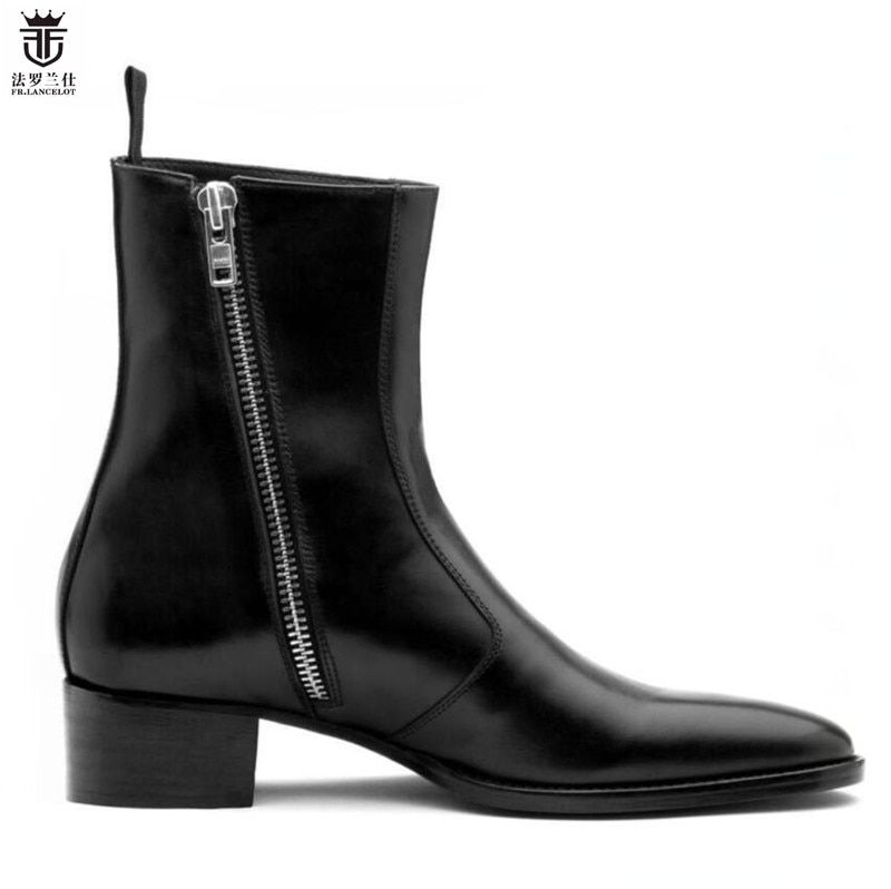 2018 FR.LANCELOT Luxury brand Black real leather fashion pointed toe men british boots Side zipper mujer bota sequin Shoes Mens
