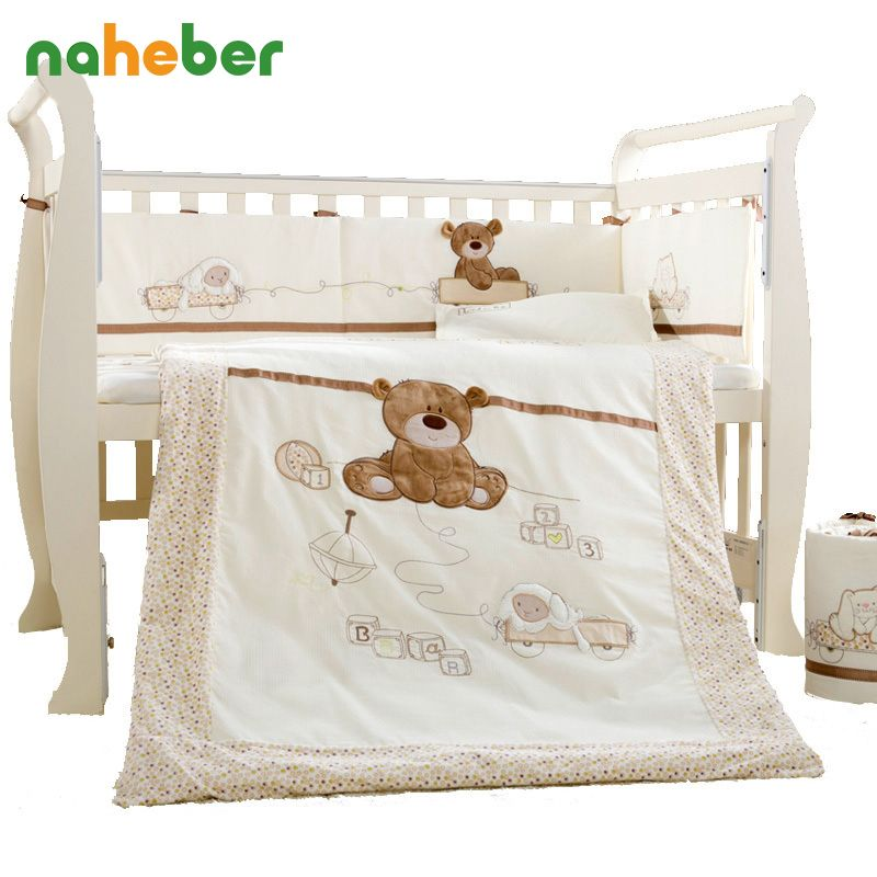 7Pcs Cotton Baby Cot Bedding Set Newborn Cartoon Bear Crib Bedding Detachable Quilt Pillow Bumpers Sheet Cot Bed Linen 4 Size