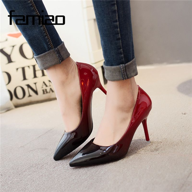 MS 2018 Women pumps Fashion <font><b>pointed</b></font> toe patent leather stiletto high heels shoes Spring Summer Wedding Shoes woman high heels