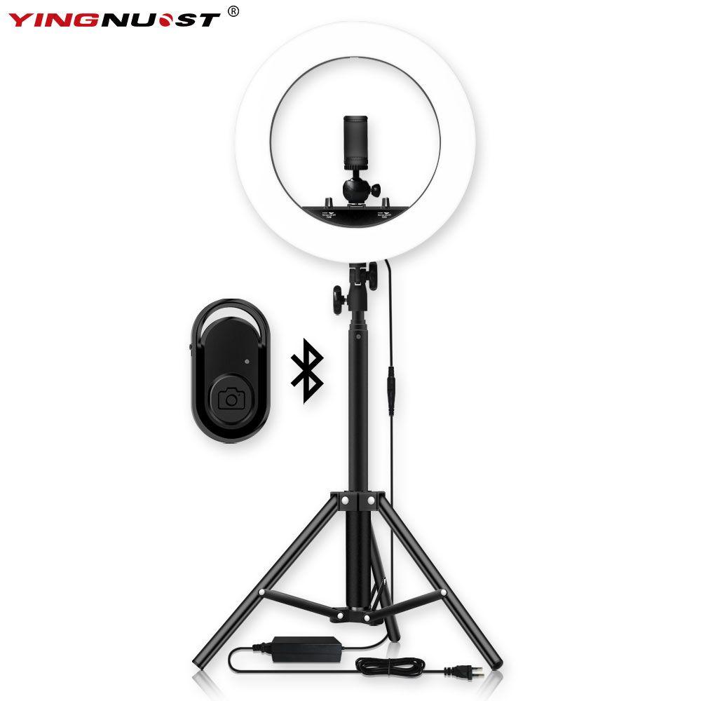 Dimmable Selfie LED anneau lumière 14 ''photographie anneau lampe avec trépied 1.6 M pour beauté maquillage Photo Studio éclairage flux en direct