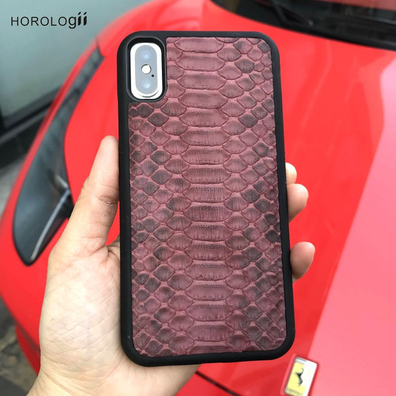 Horologii case cover python Skin leather for case iphone 7 X Xs luxury phone case for lady custom name service luxury package