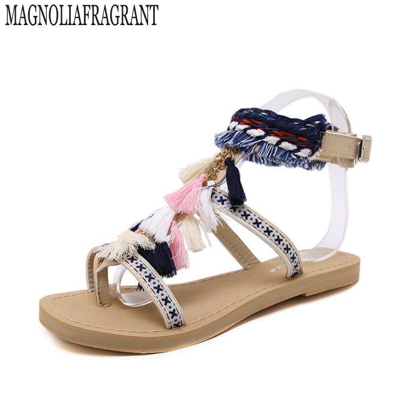 bohemia summer shoe gladiator sandals women shoes 2017 tassel flat multicolour fuzz ball pom pom sandals female ankle leg strap