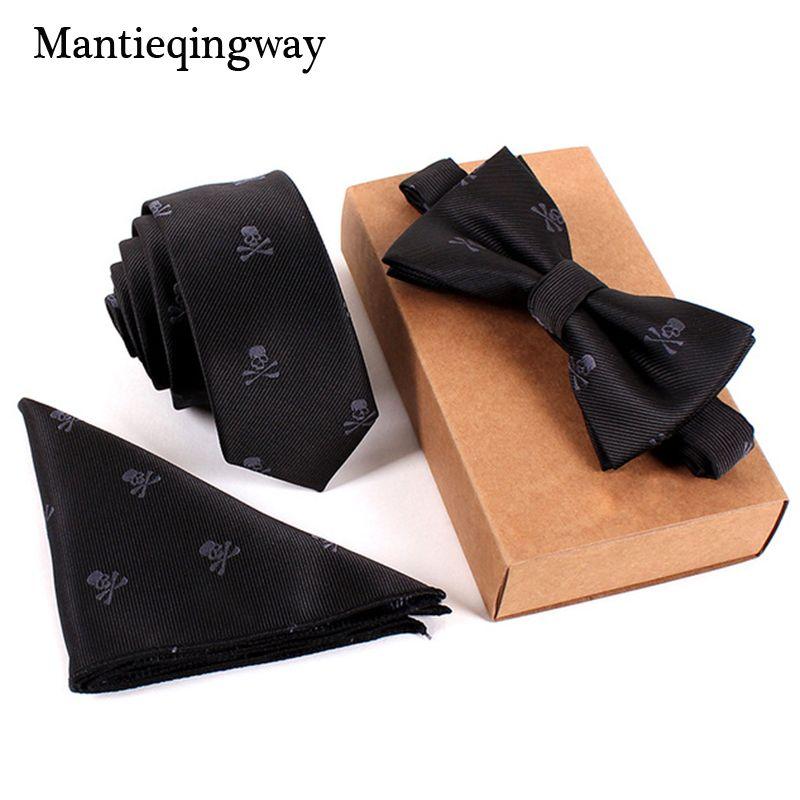 Mantieqingway Business Tie Set Skull Print Ties Pocket Square Towel Wedding Suit Neck Tie Gravata Slim Bowtie Handkerchief Set