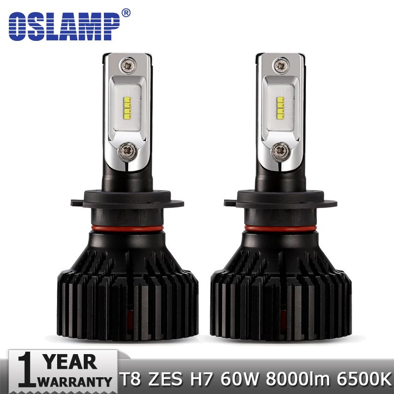 Oslamp H7 Car LED Headlight Bulbs ZES 60W 8000LM 6500K Auto Headlamp Fog Light Bulb 12v 24v for TOYOTA FORD VW Golf VOLVO SKODA
