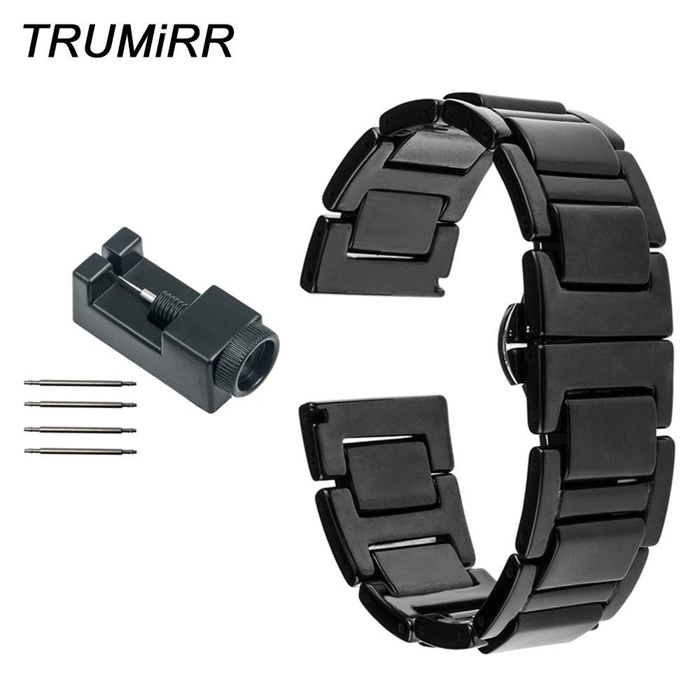 20mm Bracelet céramique complet pour Samsung Gear S2 classique (SM-R7320) Moto 360 2 42mm hommes Bracelet de montre papillon boucle Bracelet + outils