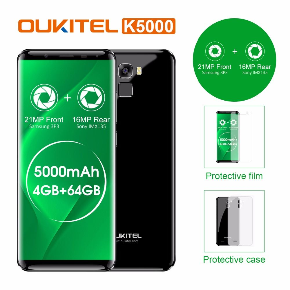 Original Oukitel K5000 4G LTE Mobile Phone 4GB RAM 64GB ROM MT6750V Octa Core Android 7.0 5.7''HD 5000mAh 16MP Fingerprint OTG