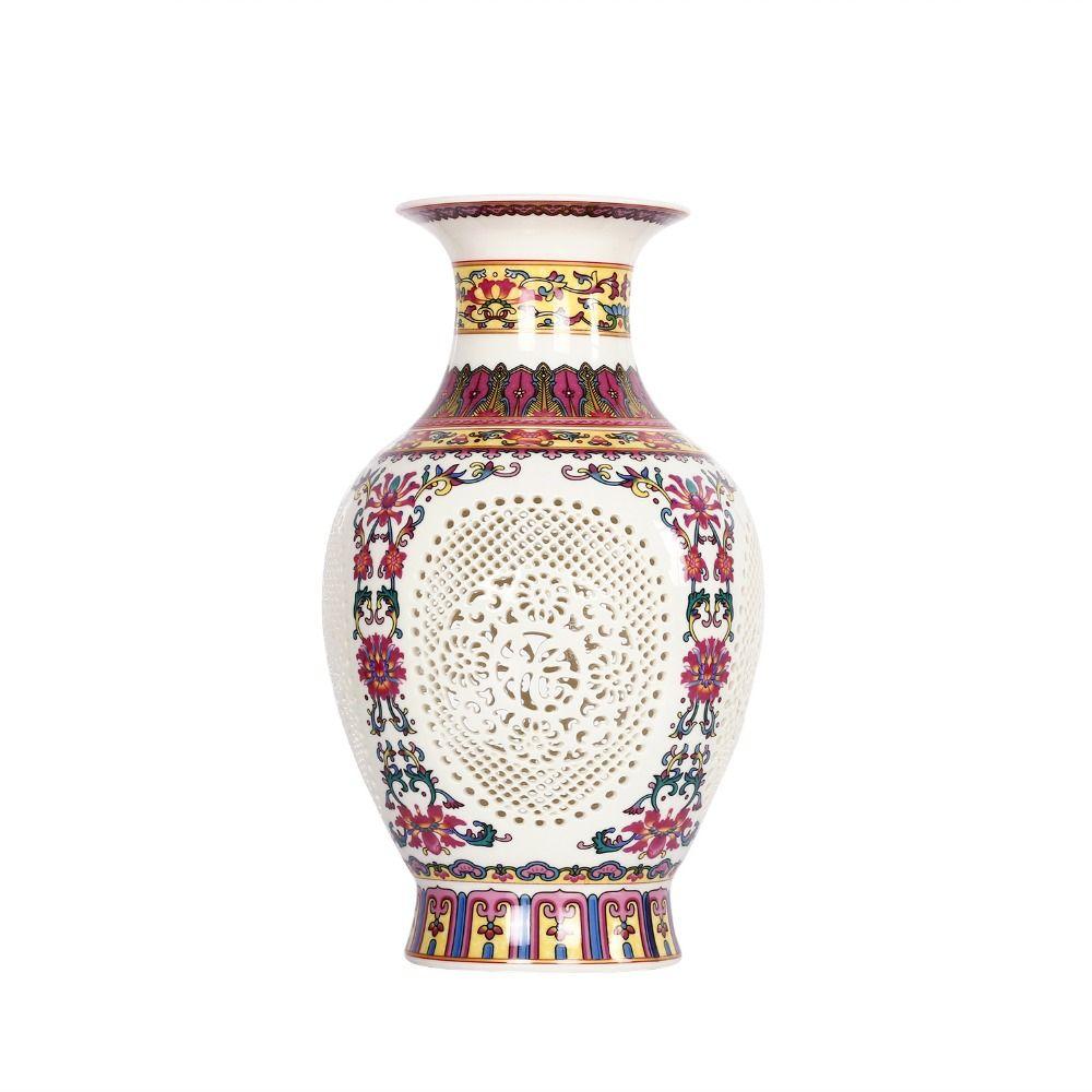 Antique Chinese-style Palace Restoring Ancient Ways Jingdezhen Hollow White Ceramic Vase Decoration Flower Vases