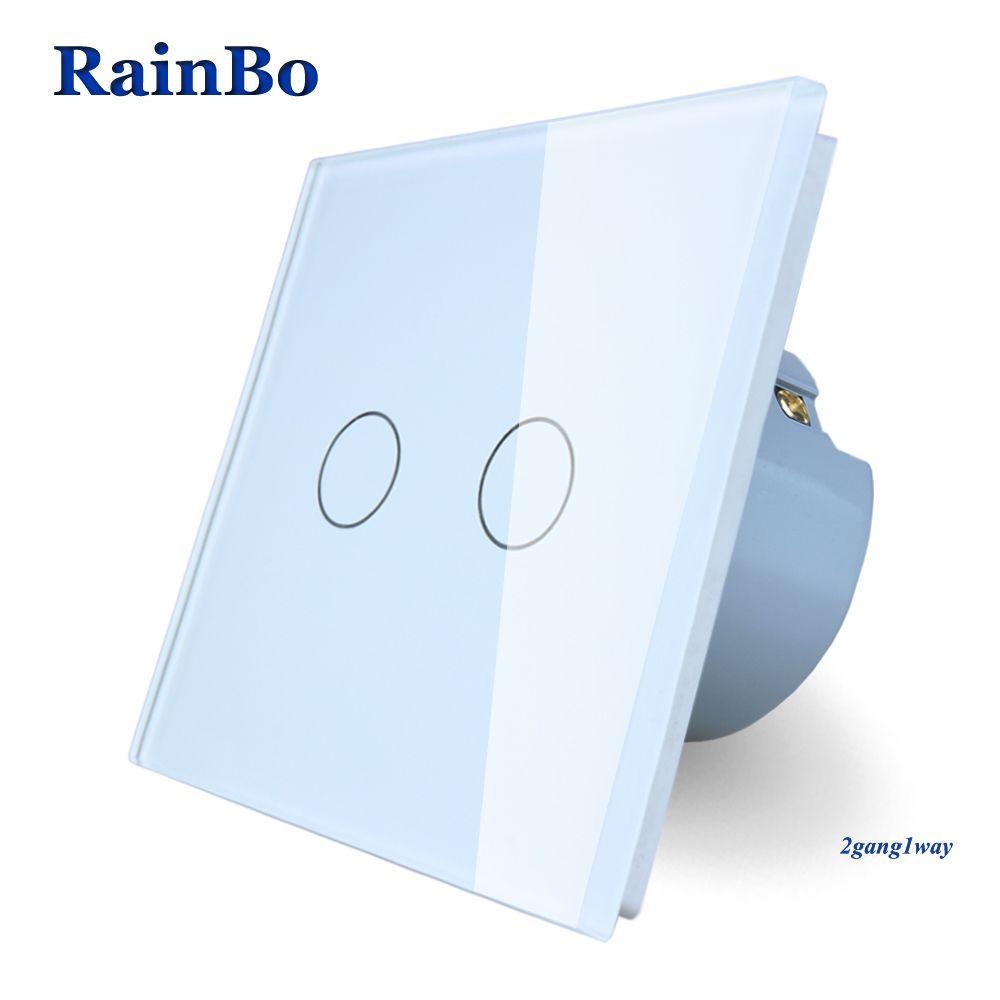 RainBo Brand New Crystal Glass Panel wall switch EU Standard 110~250V Touch Switch Screen Wall Light Switch 2gang1way A1921CW/B