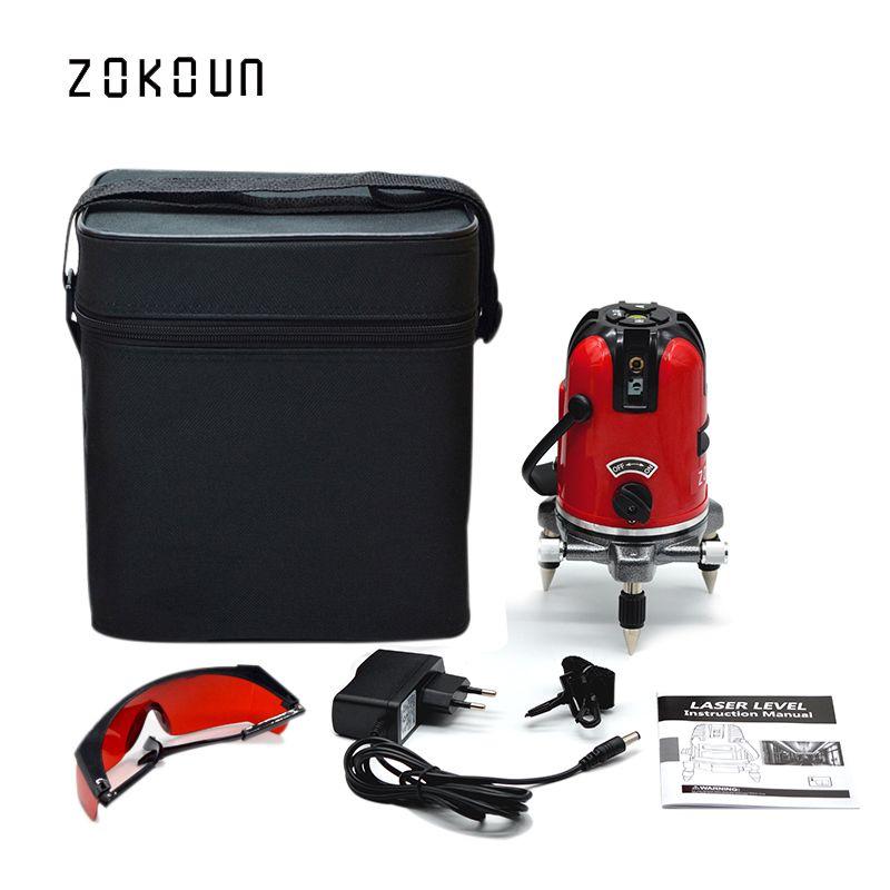 UE plug sac en tissu ZOKOUN 360 degrés rotatif inclinable slash fonctionnelle 5 lignes 6 points en plein air mode croix ligne laser niveleur