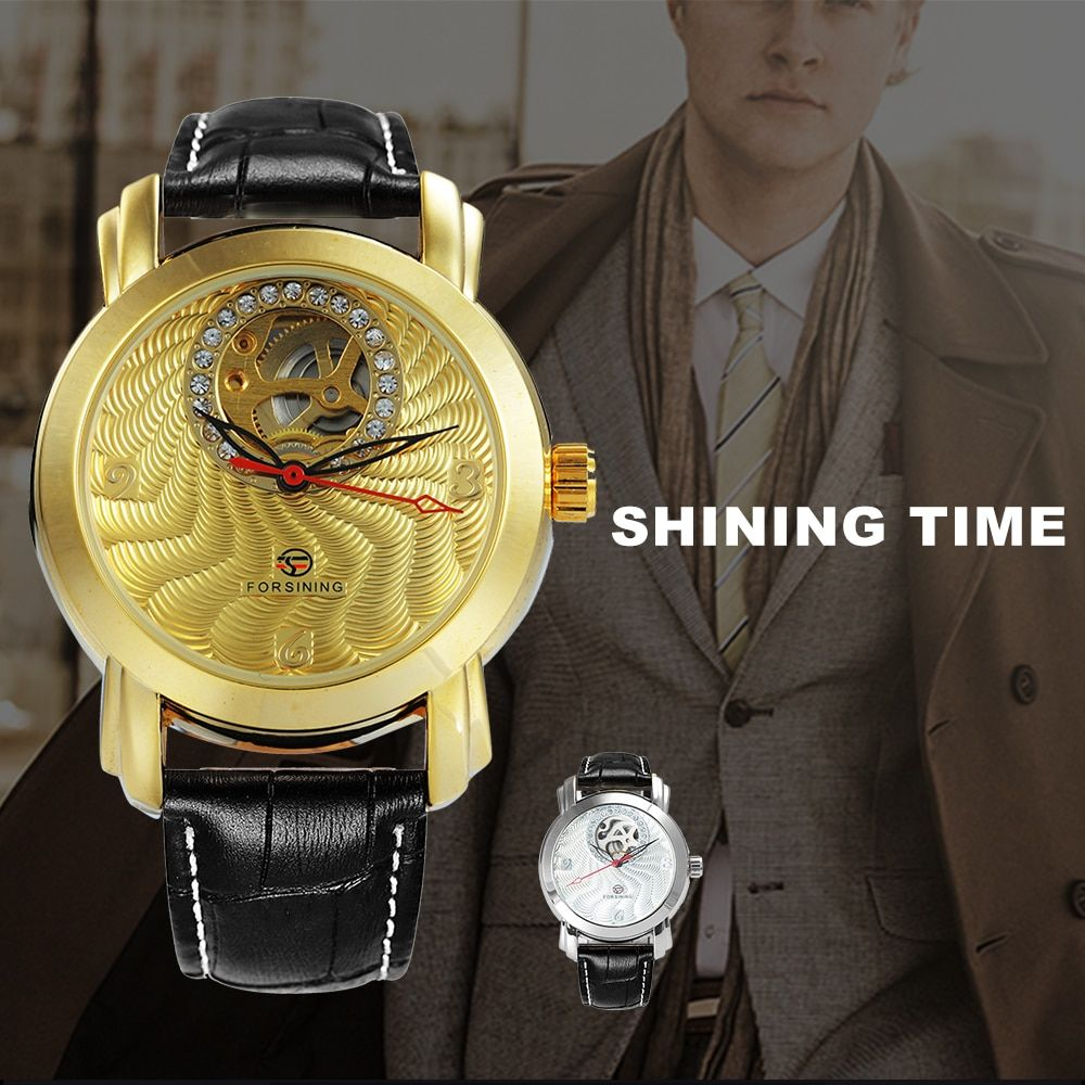 FORSINING Top Brand Luxury Men Auto Mechanical Watch Skeleton Dial Golden Royal Fashion Leather Strap Wrist Watches for Man