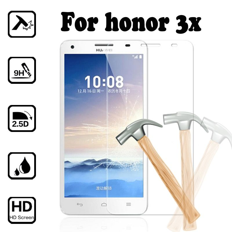 For huawei honor 3x screen protector tempered glass For Honor 3X 5.5inches case 9H Anti-Explosion Protective Film cover