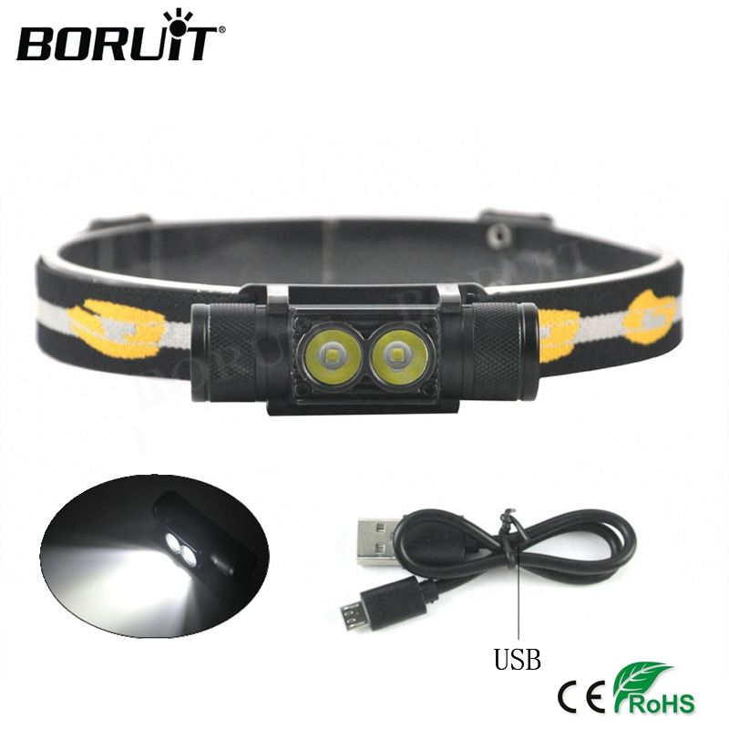 <font><b>BORUiT</b></font> XP-G2 LED Mini Headlight 5-Mode USB Rechargeable Headlamp Camping Flashlight Hunting Frontal Head Torch by 18650 Battery