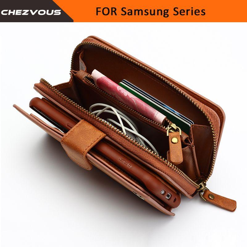 Portefeuille Pour Samsung Galaxy S4 5 6 7 edge Étui 2 en 1 Emplacement Pour Carte Étui Pour Note 4 5 Housse En Cuir Sac À Main Fermeture Éclair Sac de Téléphone