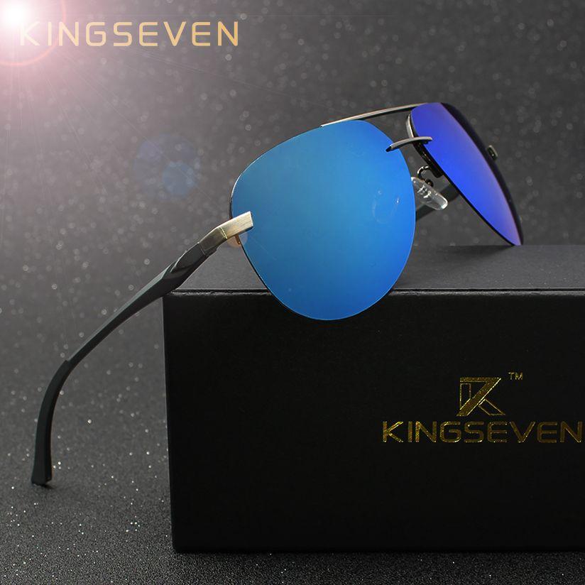 KINGSEVEN aluminium magnésium lunettes de soleil polarisées hommes pilote miroir lunettes de soleil mâle pêche lunettes de soleil femme pour hommes