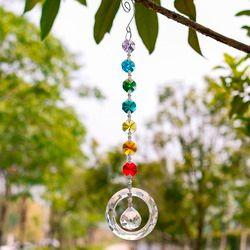 25 Cm H & D Fengshui Round Rainbow Pembuat Jendela Liontin Kristal SunCatcher dengan 20 Mm Bola Prisma Octogon Chakra sunCatcher untuk Hadiah