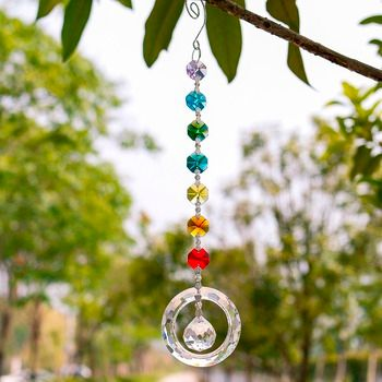 25cm H&D Fengshui Round Rainbow Maker Window Pendant Crystal Suncatcher with 20mm Ball Prism Octogon Chakra Suncatcher for Gift