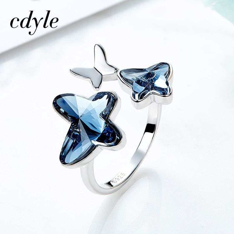 Cdyle Crystals From Swarovski Luxury Ring S925 Sterling Silver Fashion Jewelry Wedding Women Bijoux New Valentine's Day Gift
