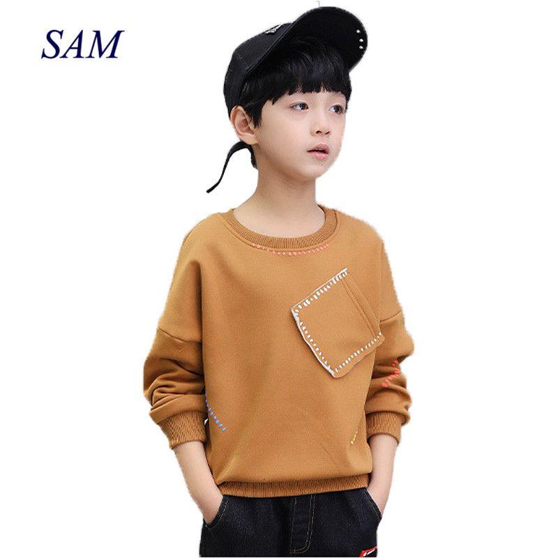 Nouveau 2019 garçons t-shirts enfants à manches longues t-shirts hauts vêtements solide coton printemps automne enfants école t shirt garçons enfants vêtements