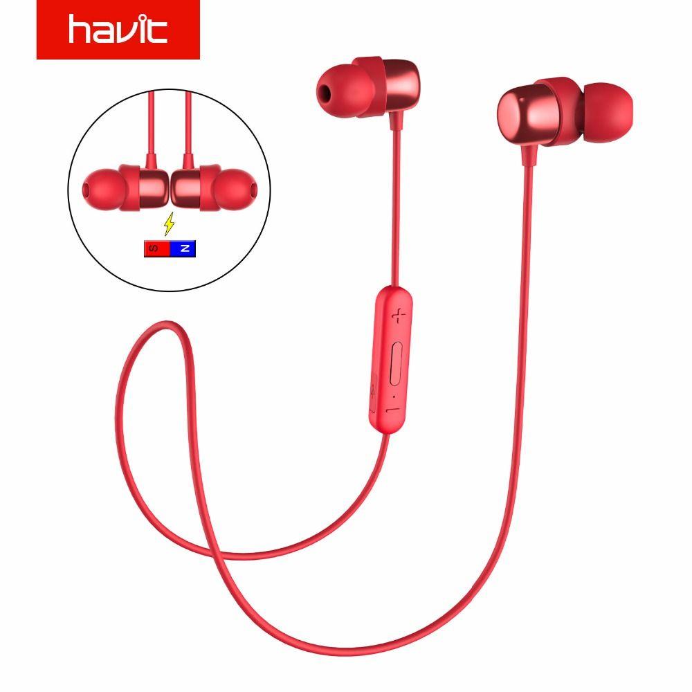HAVIT Bluetooth Earphone Sport Earbuds Sweatproof IPX5 Waterproof V4.2 Magnetic Earphones With Microphone 10 Hours Playtime I39