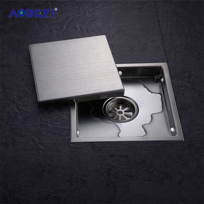 AODEYI carrelage Insert carré en acier inoxydable Drain de sol grilles de déchets salle de bains Invisible douche Drain 110x110 MM ou 150x150 MM