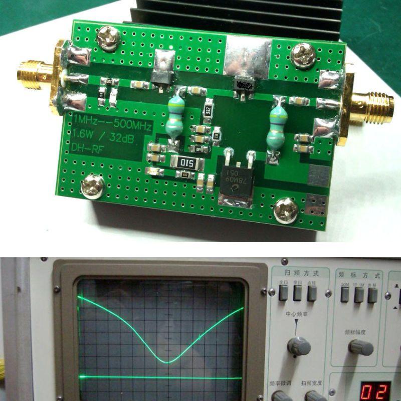RF 1 MHz-500 MHZ 1.5 W amplificador de Potencia HF FM transmisor para el jamón de radio VHF UHF FM + disipador de calor