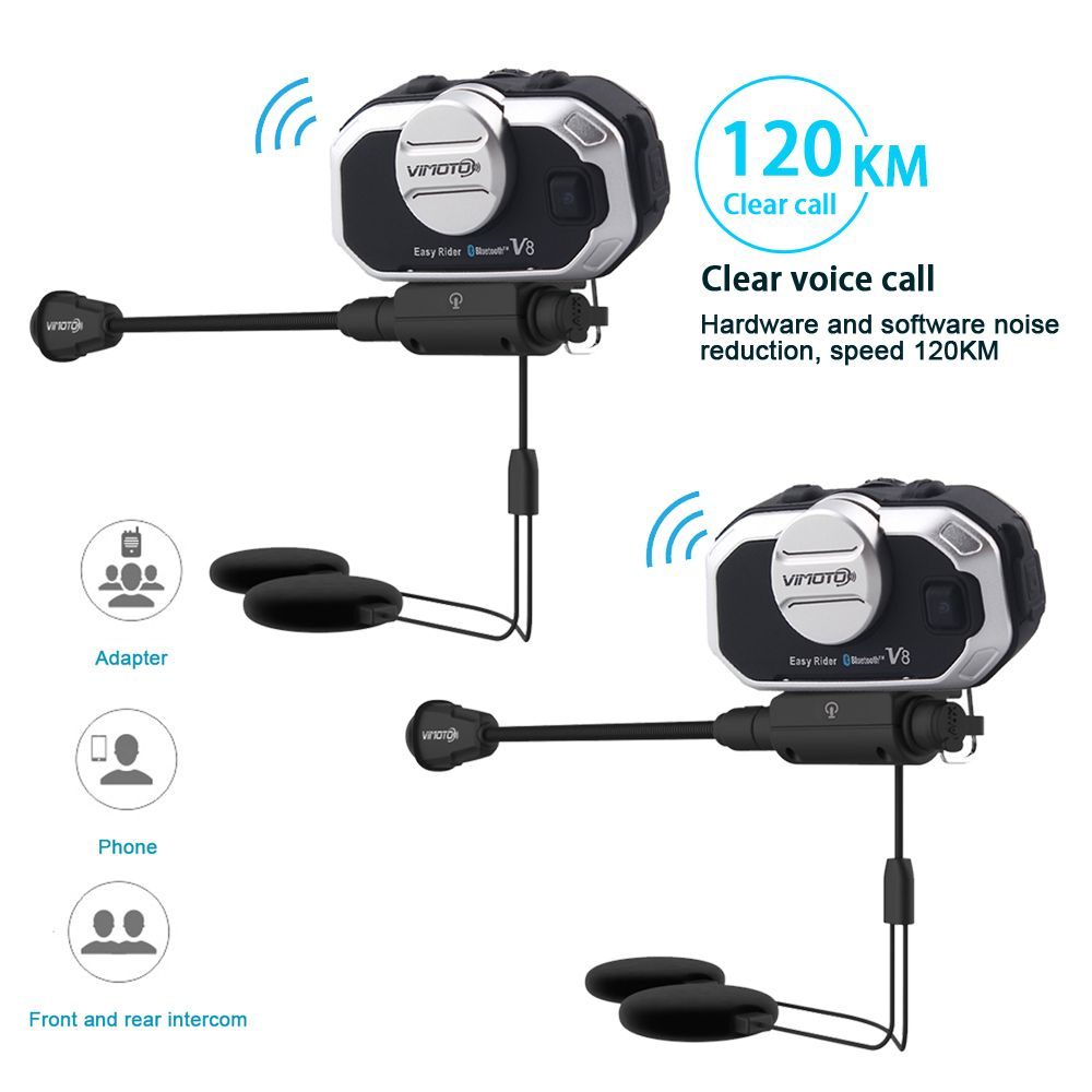2 pcs Vimoto V8 Motorcycle Bluetooth Stereo Headset For Rider and Pillion,Suit for Integral/Close/Half Face/Open Face Helmet