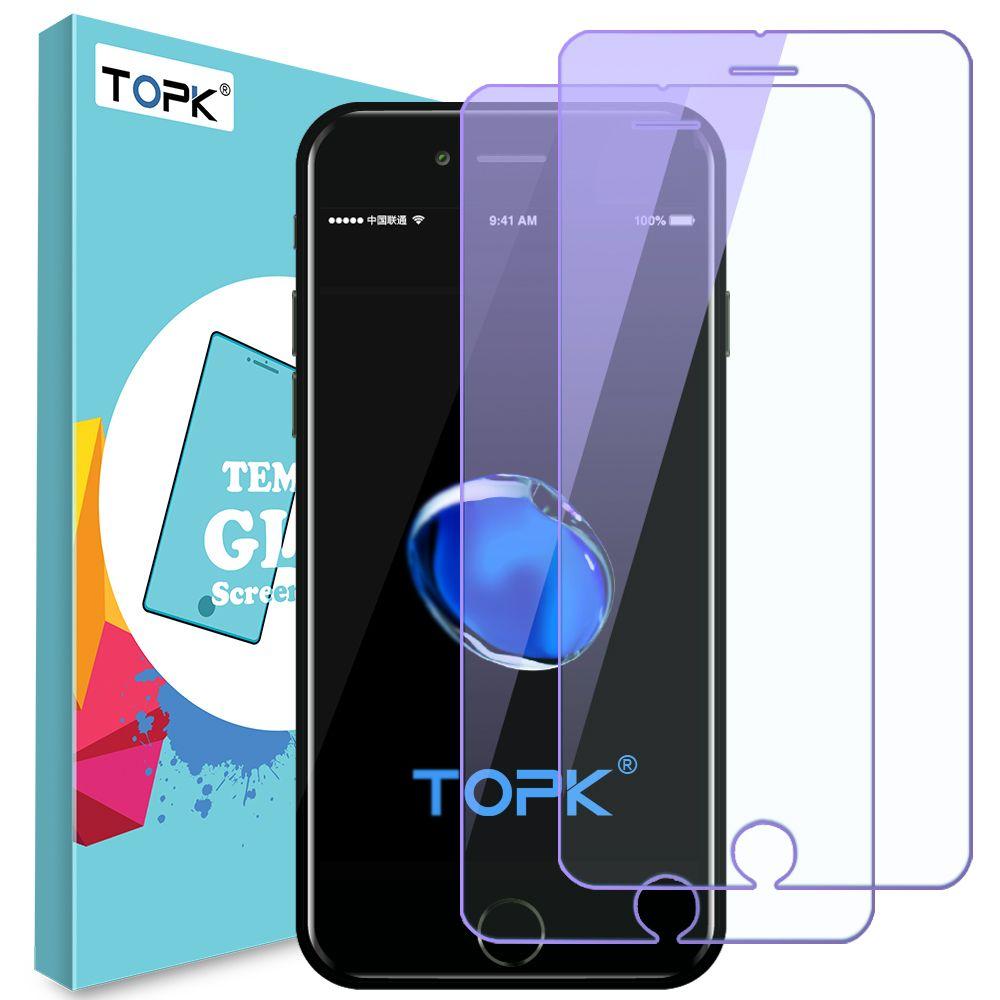 Für iPhone 8 Displayschutzfolie, TOPK Anti Blaues Licht 9 H Härte HD Gehärtetem Glas für iPhone 7 8 Plus