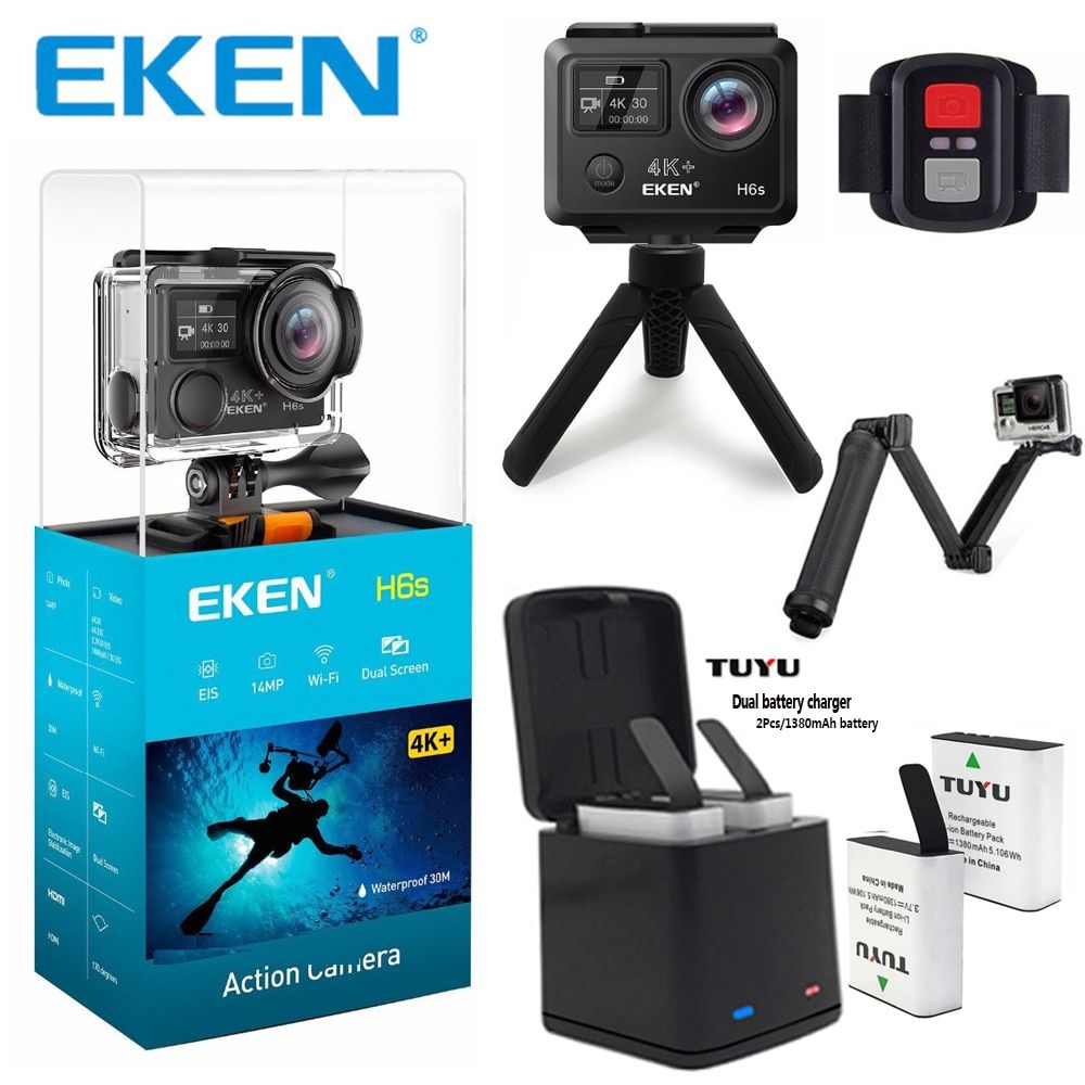 Original EKEN H6S 4K+ Ultra HD Action Camera Built-in Ambarella A12 Chipset 4K@30fps 1080p@60fps EIS waterproof Action Camera
