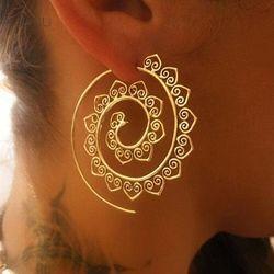2017 Steampunk ronda Swirl Hoop pendiente para las mujeres oro plata tono círculo grande Pendientes partido Accesorios joyería étnica