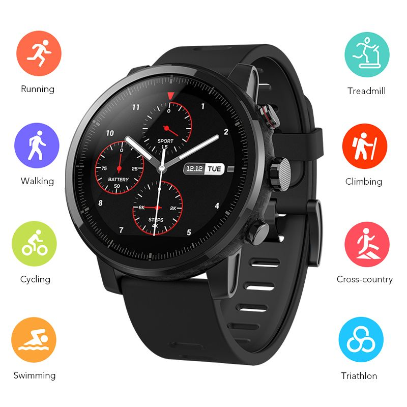 Original Huami Amazfit 2 Smart Watch Running Watch GPS Xiaomi Chip Alipay Bluetooth 4.2 Bidirectional Anti-Lost For IOS/ Android