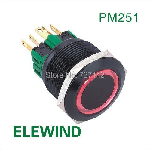 Interrupteur à bouton-poussoir momentané avec anneau en aluminium noir ELEWIND 25mm (PM251F-11E/R/12 V/A)