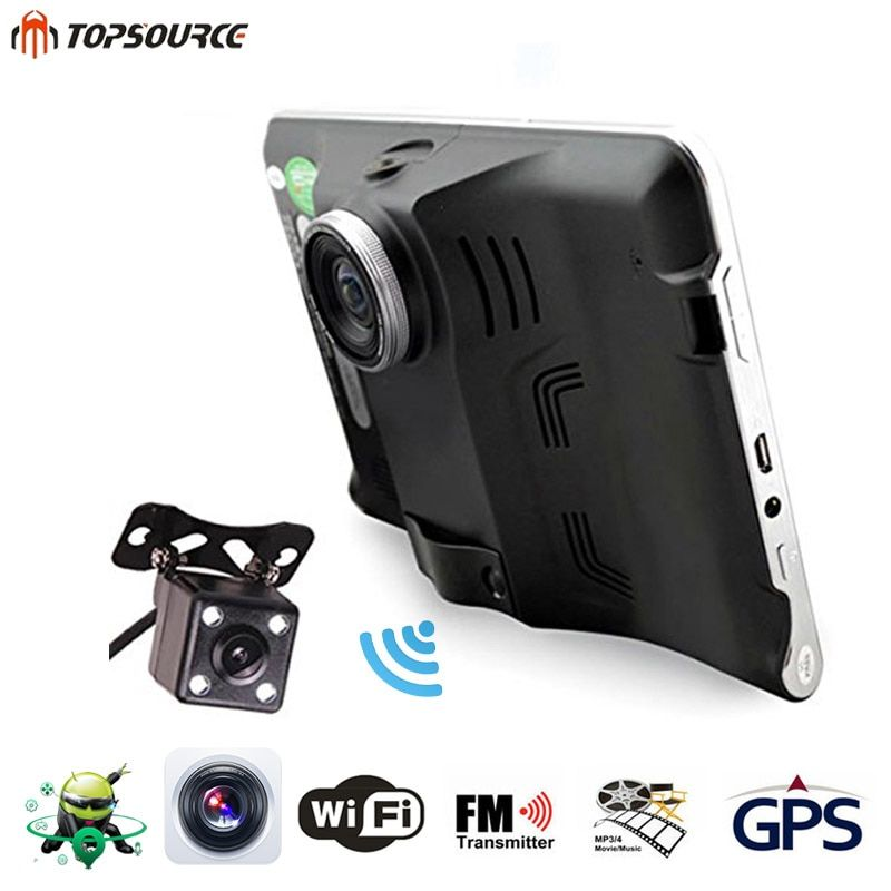 TOPSOURCE 7'' Car DVR GPS Navigation Android Radar Detector 16GB Truck vehicle gps navigator navitel/Spain map Rearview camera