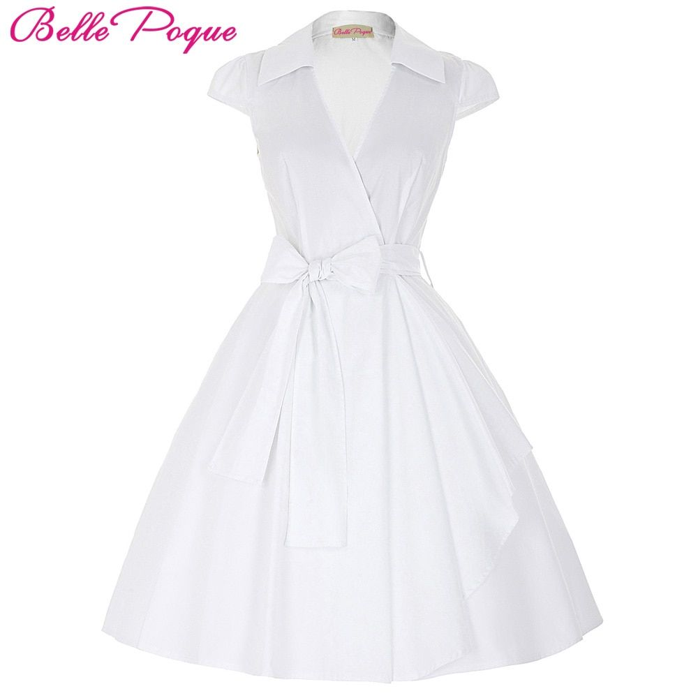 Belle Poque 2018 Audrey Hepburn D'été Robes Femmes Vintage Swing Robe Rockabilly Femme Au Foyer Rétro 50 s Pin-Up Robe Robes