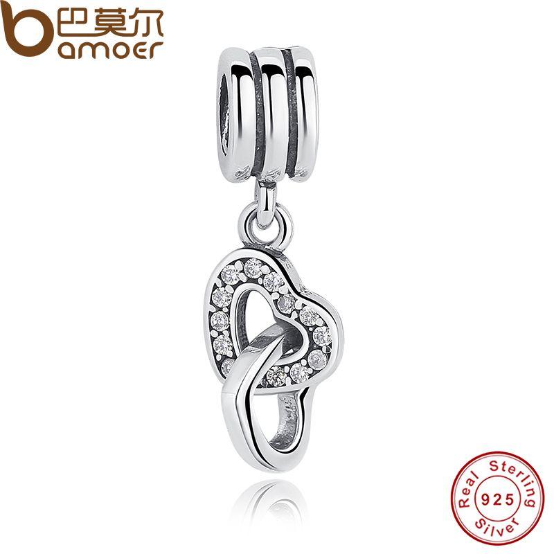 925 Sterling Silber Verriegelung Liebe Rose & CZ Anhänger & Charme Fit Armband Doppel Herz Geformt PAS043