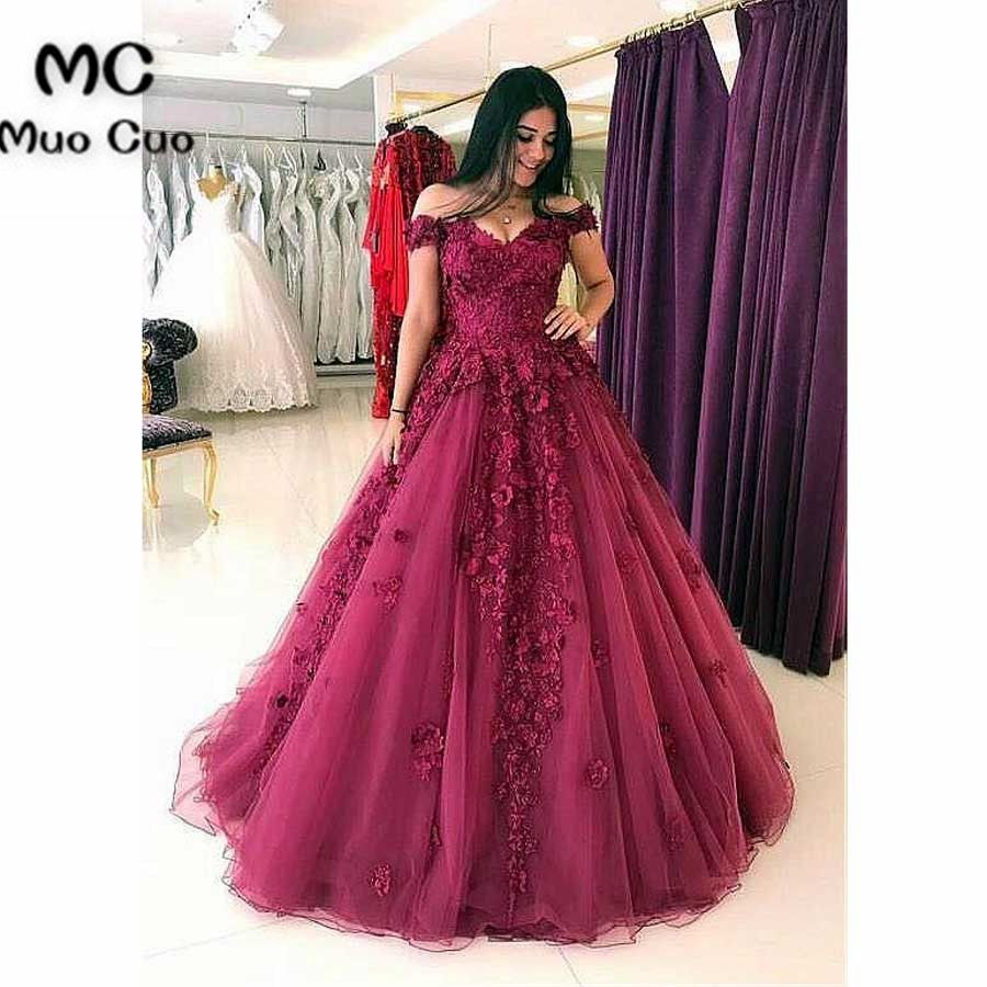 Elegant Ball Gown 2018 Off Shoulder Prom dresses Long with Appliques Graduation dresses Beaded Evening Prom Dress for Women