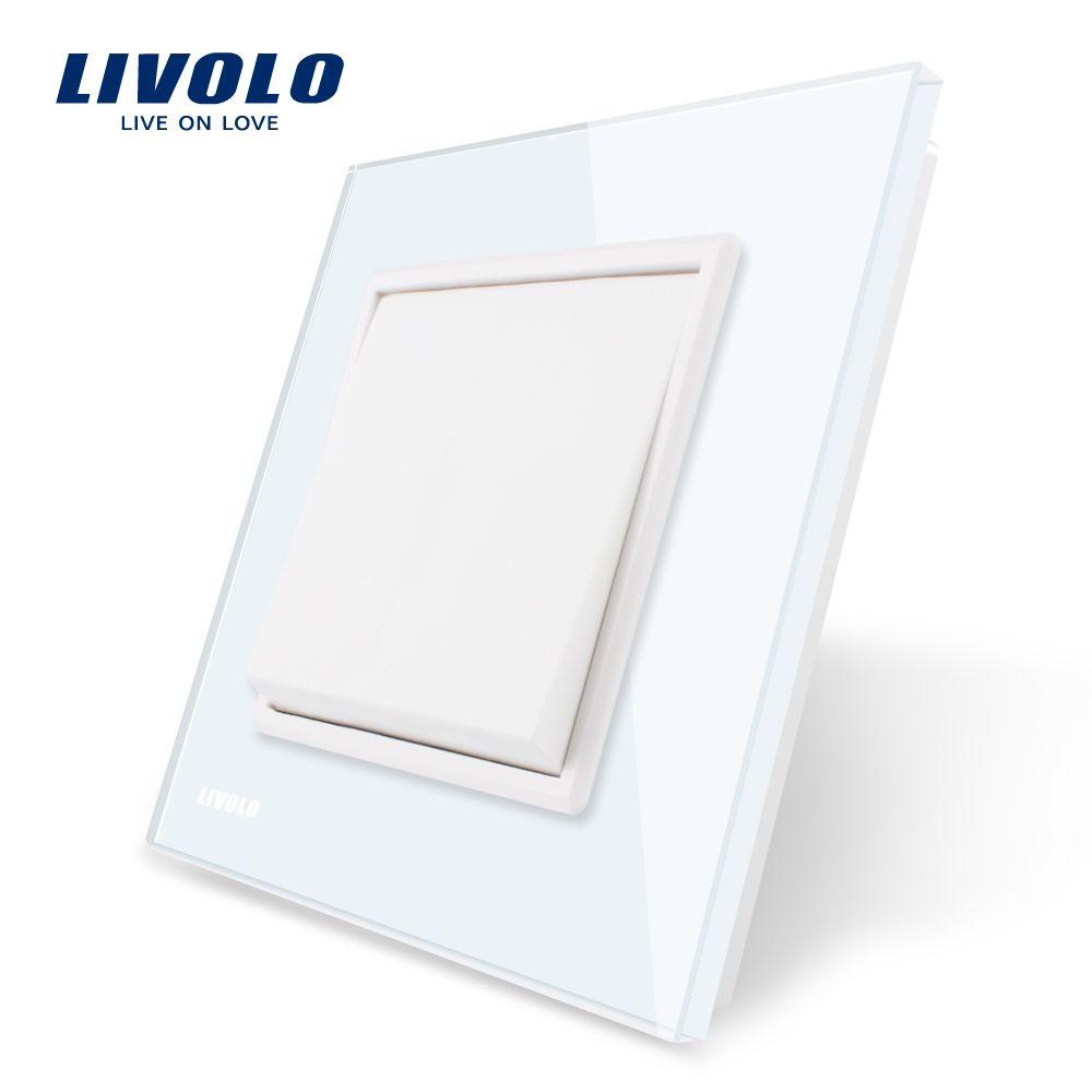 Livolo fabricant EU standard panneau de verre en cristal blanc de luxe, 1 gang 1 voie bouton-poussoir, VL-C7K1-11/12