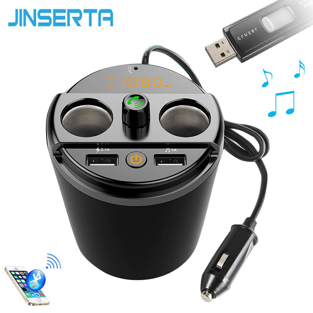 JINSERTA Bluetooth Car MP3 Player FM Transmitter 2 USB 3.1A Cup Cigarette Lighter Adapter Phone Fast Charger FLAC WAV Music play