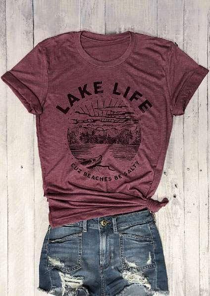 Nouveau femmes T-Shirt à manches courtes lac vie Cuz plages être salé impression o-cou T-Shirt 2018 décontracté T-Shirt dames hauts T-Shirt