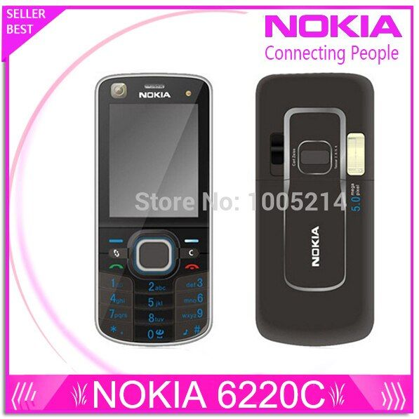 Original Nokia 6220 Classic A-GPS 3G 5MP Camera 6220c mobile phone wholesale Nokia 6220 Refurbished Free Shipping