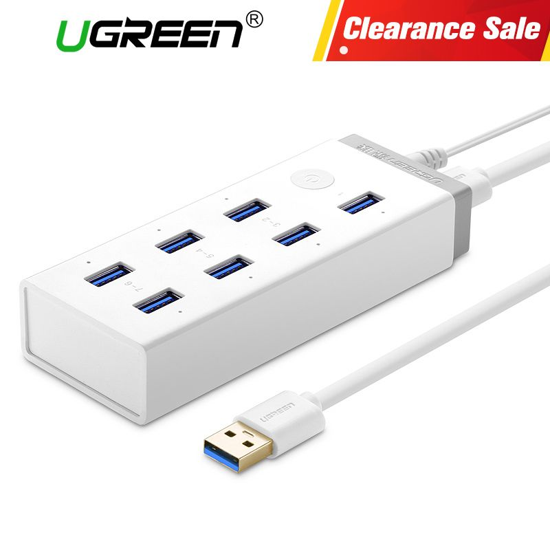 Ugreen USB 3.0 HUB 7 Port Super Speed USB Splitter with 12V 2A Power Charging Adapter for Macbook Computer Hubs Usb 3.0