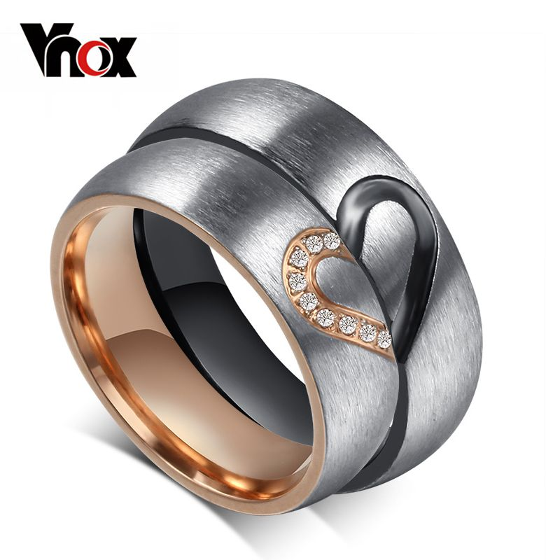 Vonx 1Pair His & Hers Love Heart Wedding Promise Ring Set Stainless Steel Couples Engagement Bands for Men and Woman
