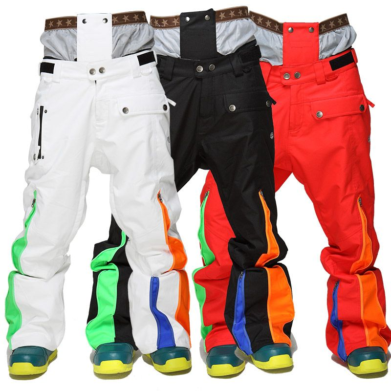 2018 Winte Ski Pants Thicken Warm Snowboard Pants Ski Trousers with Belt Outdoor Sports Trousers Waterproof men