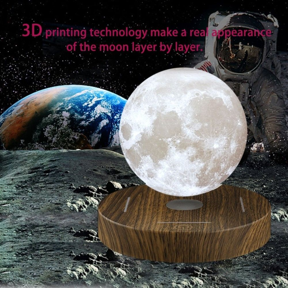 Magnetic Levitating 3D Moon Lamp Wooden Base 10cm Night Lamp Floating Romantic Light Home Decoration for Bedroom US/EU/UK/AU