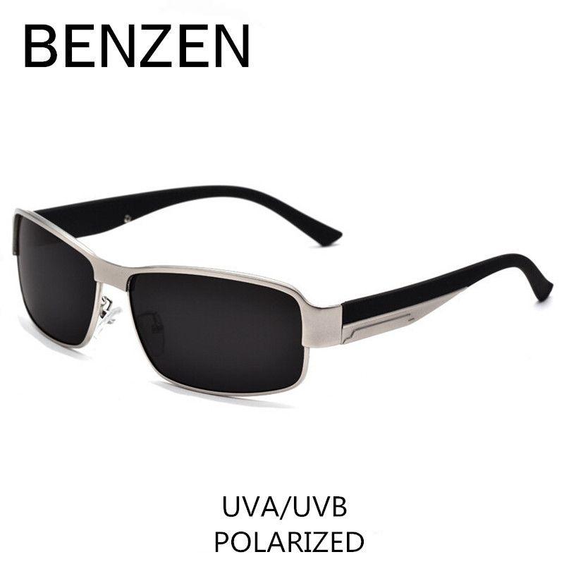 BENZEN Polarisierte Sonnenbrille Männer Klassische Legierung Männlichen Sonnenbrille Fahren Brille Shades Mit Fall 9003