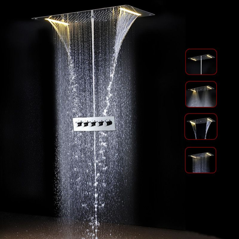 Amazing Thermostatic Bathroom Bath Shower Faucet Set 700*380mm LED Bathroom Shower Set & sensor valve