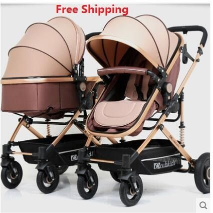 Free Shipping Twins Baby Stroller Luxury Fashionable Pram Aluminum Frame High-Landscape Baby Carriage