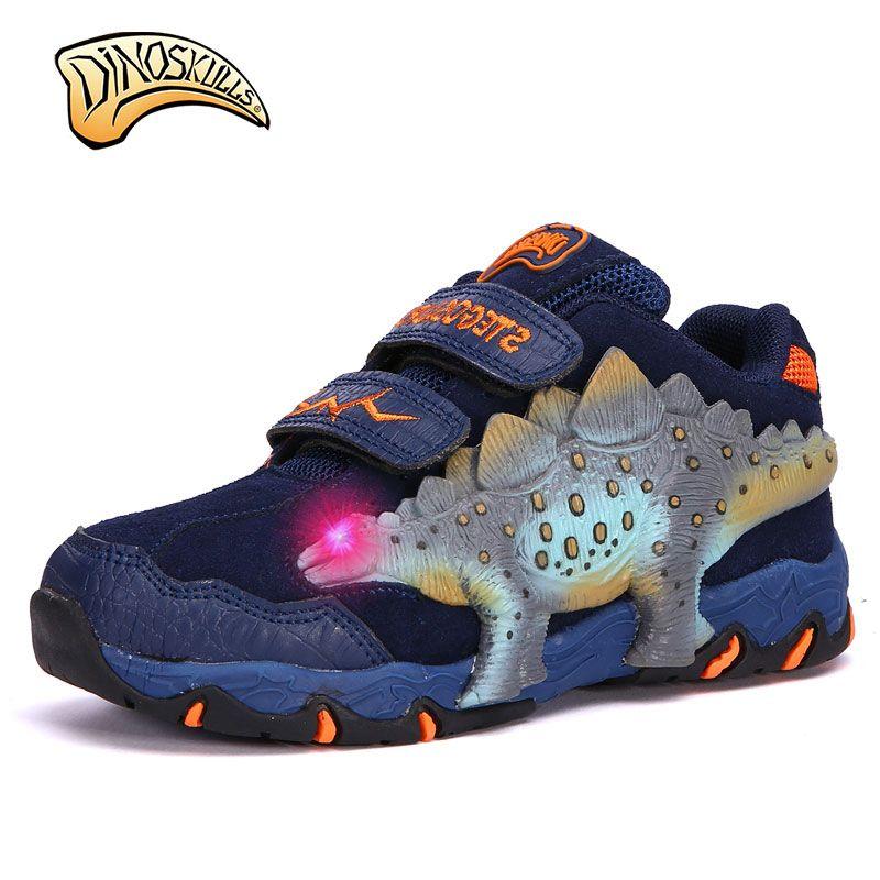 Dinoskulls 2017 Otoño Zapatos de Los Niños Zapatillas de Deporte Zapatos de Ocio Ocasionales Respirables Niños Corriendo Zapatos Dinosaurio 3D