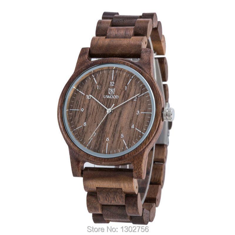 Uwood Новое поступление Цвет орехового дерева часы для Для мужчин и Для женщин мода подарок орех деревянные кварцевый механизм Miyota аналоговые...