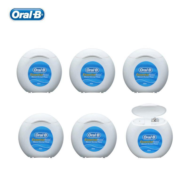 Oral B Essential Floss Waxed Dental Flosser Oral Hygiene Interdental Brush Teeth Stick Tooth Thread Pick Toothpicks 50m X 6 Pcs