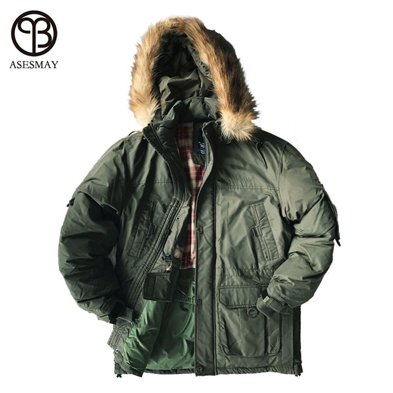 Asesmay 2017 Brand Clothing Men's Down Jackets Thickness Winter Jacket Men Parka removable lining Down White Duck Down Jacket